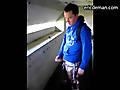 Dude sprays his semen all over the concrete