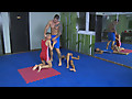 Mendez twins in tight Lycra wrestling singlets
