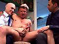 Strange Men greedily yank his cock
