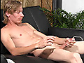 Smooth blonde straight guy masturbating on camera for money