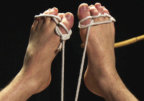Rex - Muscle boy's cock tied, feet caned