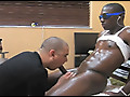 White guy eats the cum from a massively long black cock