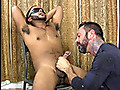 Hung straight guy cuffed, blindfolded and sucked off