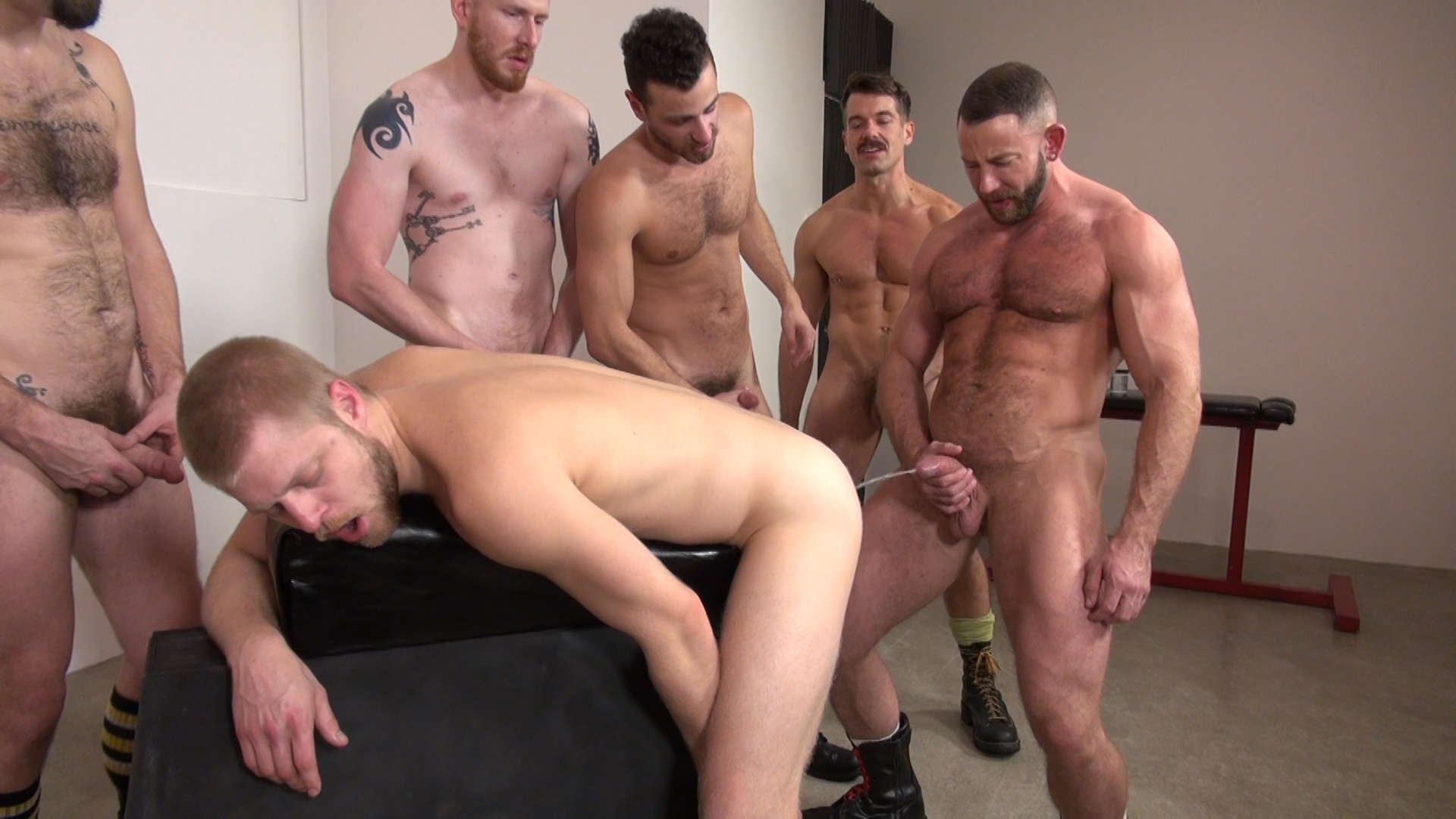 With Hairy men orgy
