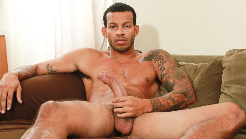 Ebony guy jerking off his huge cock