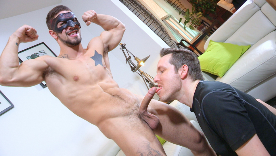 Blowing some mature guy at his home