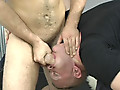 Straight Guys First Massage: Happy Endings by Buzz West features a reverse massage blowjob with the client standing up, fucking that therapist's mouth while he lays on his back with his hungry mouth open.