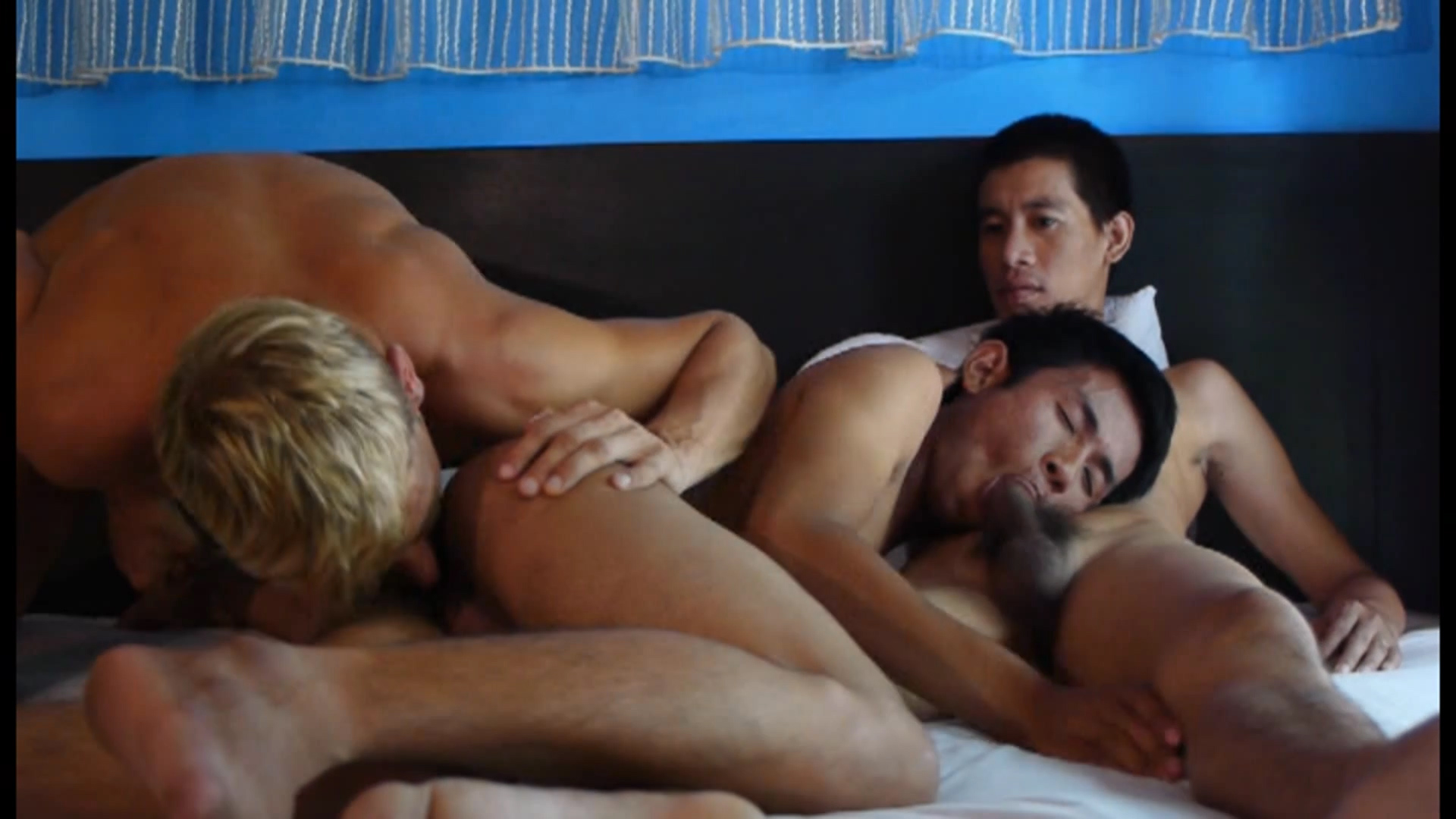 image Bi jock sucks before analsex in mmf trio
