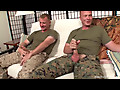 Military guys beat their meat and share techniques