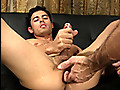 Corey shoots a big load when his ass is fingered for the first time