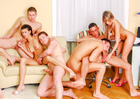 Bisexual college orgy