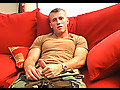 Army stud Caleb strips from uniform & jerks off till climax