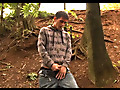 Horny guy finds a quiet place in a wood to wank out a load