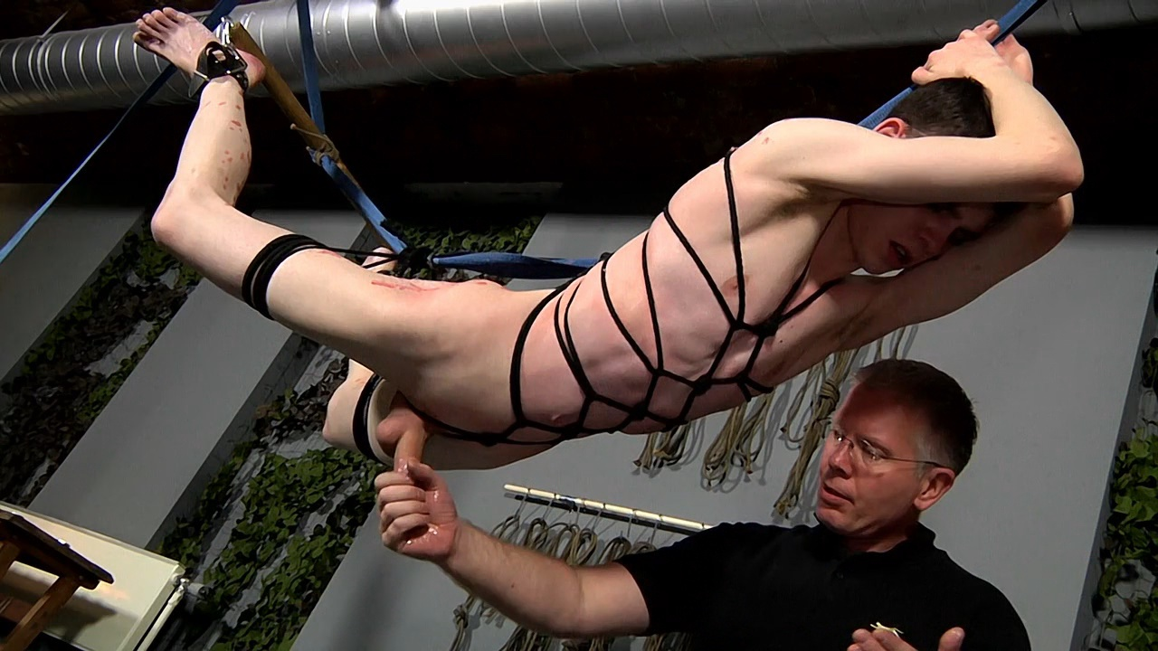 boynapped ManSurfer Suspended boys hard cock is tortured
