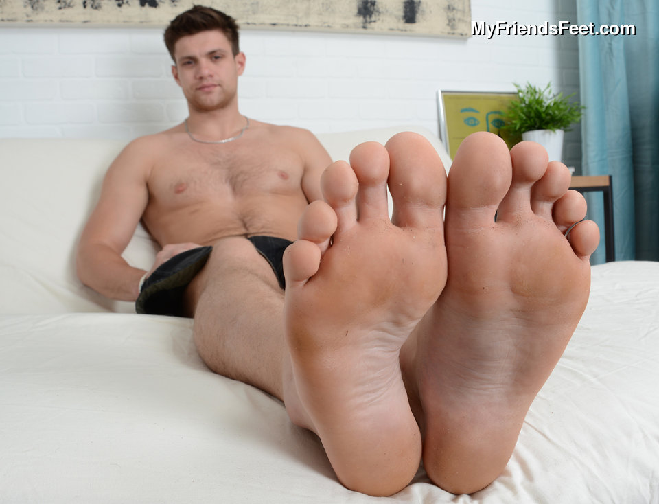 Male hunk foot fetish gay the man puts on a