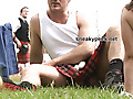 Hiding under his kilt is a fat cock and a big pair of balls
